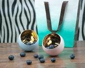Gold Filled Teacup, Minimalist Gold Teacup, Pink Porcelain Espresso Cup, Baby Blue Ceramic Cup