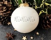 Christmas Ornament with Elephants Parade, White Christmas Bauble, Handmade Christmas Ornament