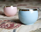 Pastel Pink or Blue Teacup with Gold Rim, Ceramic Coffee Cup, Minimalist Teacup, Pink or Blue Porcelain Teacup
