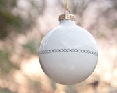 White Christmas Ornament with Cross Stitch Pattern, White Christmas Bauble, Ceramic Ornament