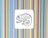 Ceramic Chameleon Brooch, Quirky Chameleon Badge, Funny Pin with Chameleon