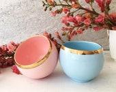 Pastel Pink or Blue Teacup with Gold Rim, Ceramic Coffee Cup, Minimalist Teacup, Pink or Blue Porcelain Teacup