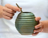 Yerba Mate Ceramic Gourd in Green Mat, Handmade Mug for Yerba Mate, Ceramic Mate Gourd