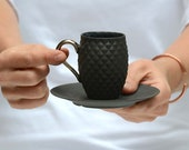 Black Coffee Cup and Saucer, Espresso Cup with Pineapple Texture, Black Espresso Set for him