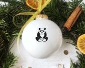 Christmas Bauble with Cute Panda Bear, Big White Christmas Ornament, Porcelain Bauble