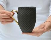 Black Porcelain Mug, Ceramic Coffee Mug with Pineapple Pattern and Gold Handle, Black Ceramic Mug