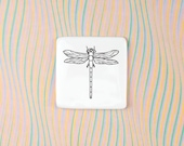 Porcelain Brooch Dragonfly, Square Shaped Badge with Dragonfly, White Ceramic Badge