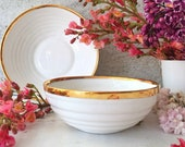 Gold Rimmed Porcelain Bowl, Stackable Serving Bowl,Elegant Ceramic Bowl