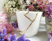 Kintsugi Cup, White and Gold Japanese Cup, Kintsugi Candleholder, Gold Joinery Cup