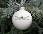 Big Ceramic Ornament with Dragonfly, White Chrismas Bauble, Modern Christmas Decoration