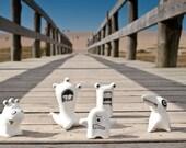 Ceramic Figurines, Figurines of Monsters, Modern Kawaii Figurines, Set of Five