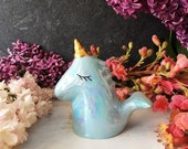 Cute Unicorn Figurine, Rainbow Unicorn, Blue Unicorn, Quirky Ceramic Monster Toy