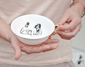 Porcelain Teacup With Pin Up Girl, Retro Coffee Cup, Handmade Ceramic Cup
