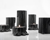 Modern Ceramic Candleholder, Minimalist Black Candleholder, Black Home Decoration, Halloween Decor