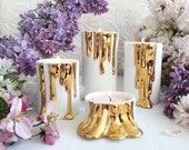 Modern White Candle Holders with Faux-Dripping Wax Decorated with Gold, White Candleholders, Halloween Decoration
