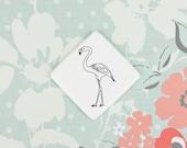 Badge with Flamingo, Flamingo Brooch, Summer Badge