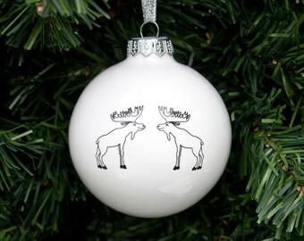 Adornos de Navidad hechos a mano con alces, chuchería de la Navidad blanca, anticuados Navidad