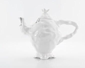 Alice in Wonderland Teapot, Porcelain Teapot, White Ceramic Teapot, Madhatters Tea Party