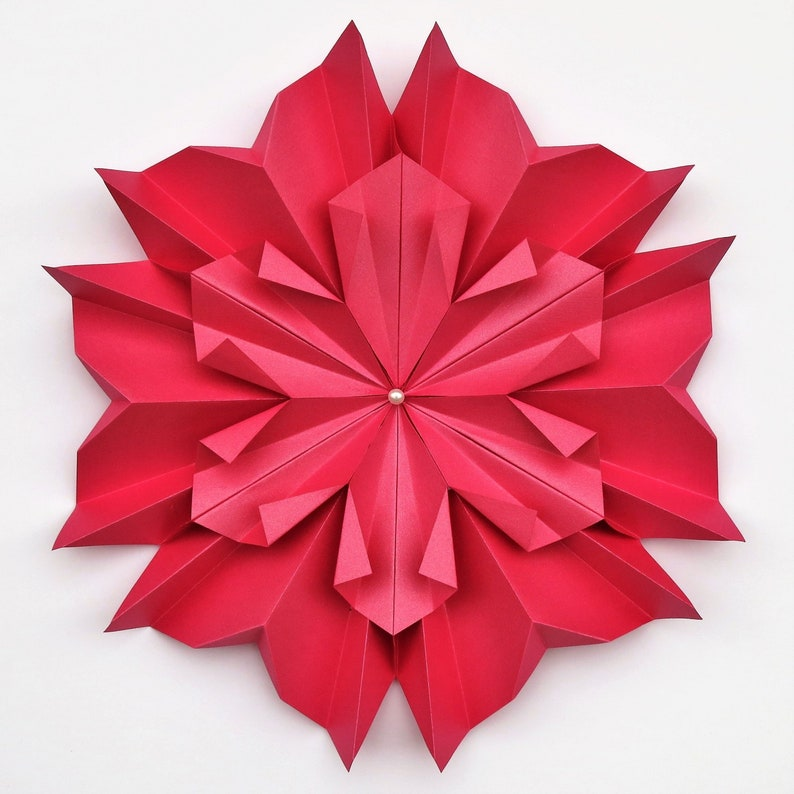 Crystal Origami Paper Flower Contemporary Wall Hanging Decor Unframed Handmade Original Unique Design