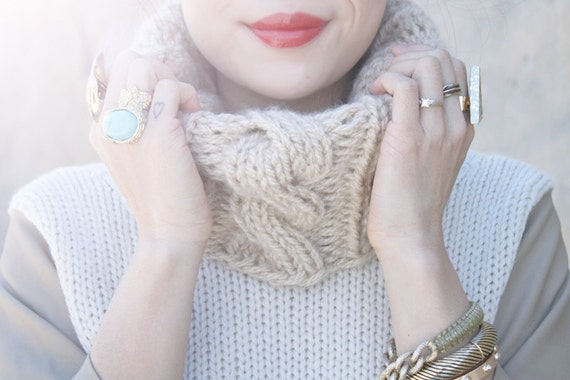 Cable Knit Cowl Knitting Pattern Pdf Downloadable Pattern Digital