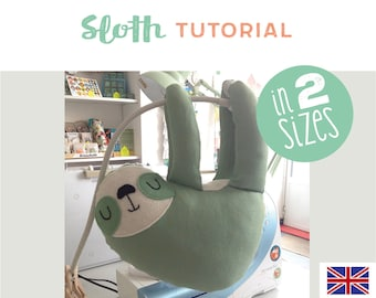 sloth plushie, toy, tutorial, DIY, instructions, sewing pattern, sew your own sloth toy