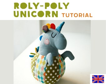 roly-poly unicorn plushie tutorial, sewing intructions, DIY, baby shower gift, sewing pattern