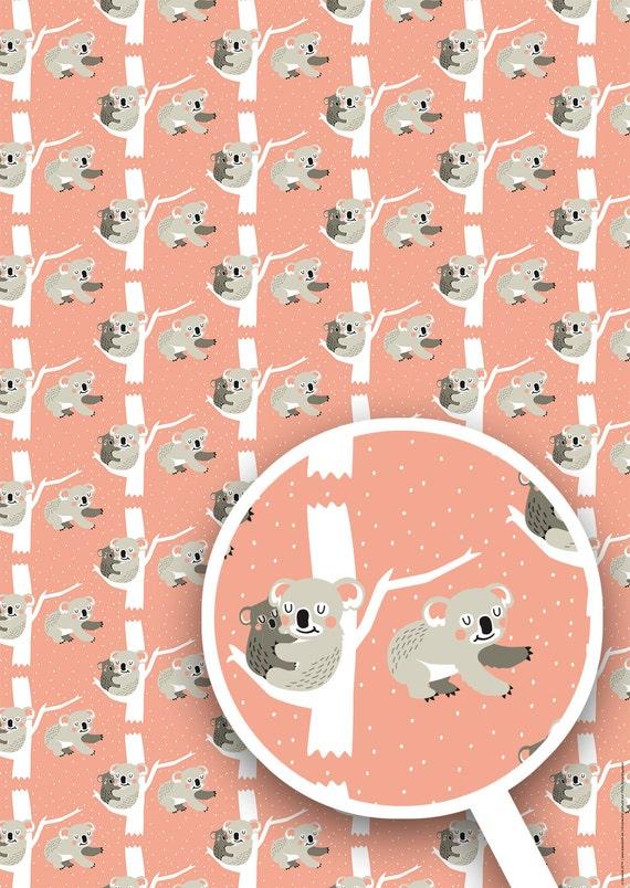 Koala Geschenkpapier 3 Bögen im Set Größe Din A2 | Etsy