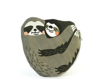 Sloth Coin Purse, Sloth bag, Sloth pouch, Cotton, grey
