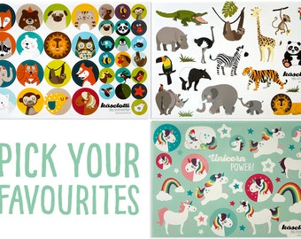 3 Sticker Sheets, Unicorn, Animals, Pages, Paper