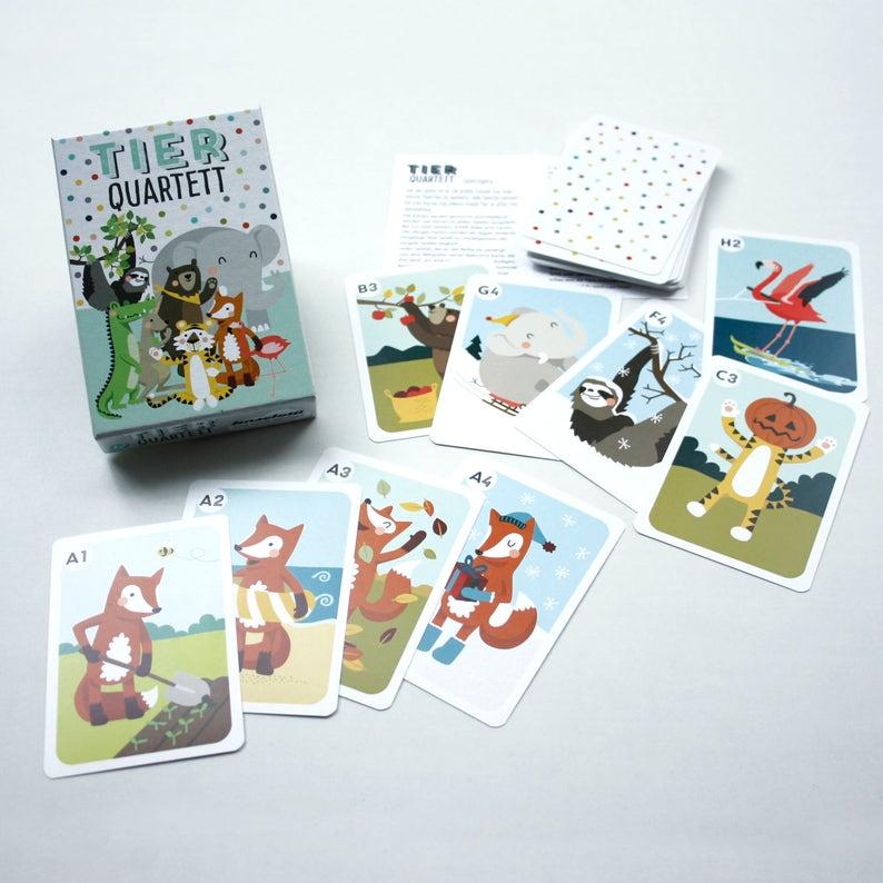 Tier-Quartett mit 32 Karten Kartenspiel Spiel Spielen mit