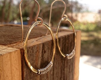 Brass and Silver Hoop Earrings