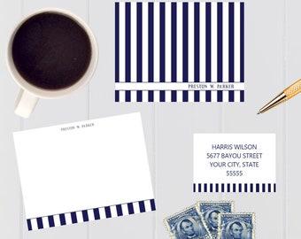 Bold Navy Stripe Stationery Gift Set/Navy Stripe/Thank You Notes/Personalized Notes/Return Address Labels/Gift Set/Gift Idea/Stationery Set