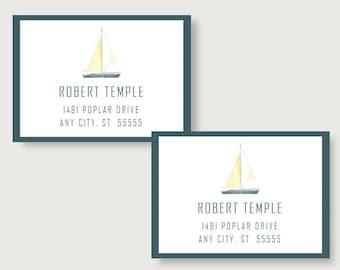 Sailboat Personalized Printed Return Address Labels/Address Labels/Personalized Address Labels/Return /Nautical Address Labels