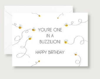 Bee Birthday Card/Buzzillion/Neutral Gender Birthday