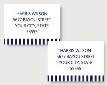 Bold Stripe Personalized Digital Return Address Labels/Address Labels/Personalized Address Labels/Return /Return Address Labels