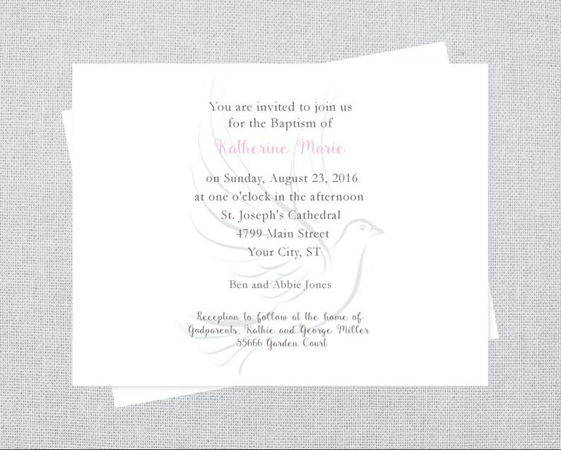 Dove Baptism Invitation christening invitation watercolor image 0