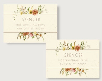 Autumn Floral Personalized Return Address Labels/Address Labels/Personalized Address Labels/Return /Autumn Address Labels