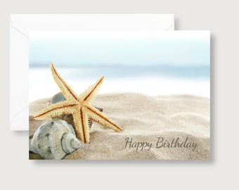 Starfish on Beach Photo Birthday Card/Starfish/Happy Birthday/Beach Birthday Card