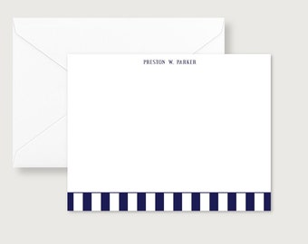 Personalized, stationery, Bold Navy blue Stripe Personalized Flat Notes