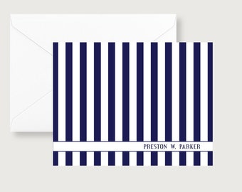 Bold, Navy Stripe Personalized Note Cards/Classic Note Cards/Classic Personalized/Masculine Notes/Navy Stripes/Gifts for Him/Gift Idea