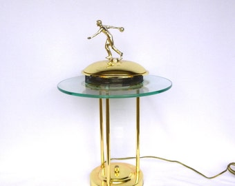 Upcycled BOWLER TROPHYReostat TABLE LAMP/ Recycled Vintage Trophy