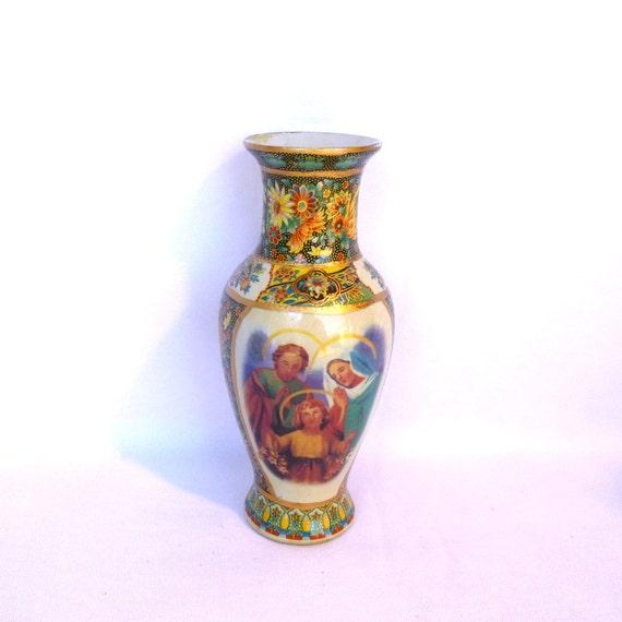 Vintage Pair Religious Vases Etsy