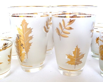 MAD MEN GLASSWARE/ Gold Leaf Frosted galsses/ Shot glasses/