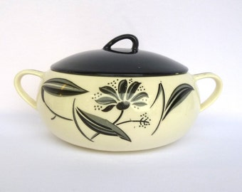 Vintage BLACK and WHITE handpainted CASSEROLE