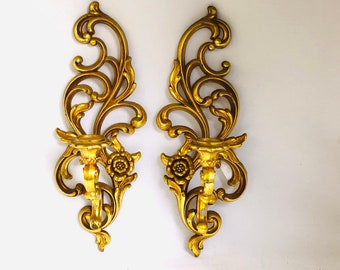 Vintage Gold WALL CANDLE HOLDERS