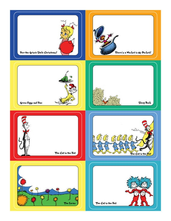 Dr Seuss Name Tag Sticker Set Template For Avery Tags Etsy