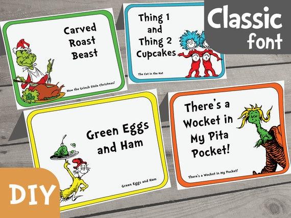 Dr Seuss Food Label PDF Form Set Of 40 INSTANT DOWNLOAD