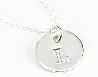 Tiny Personalized Initial Necklace, Vintage Font, Letter Pendant Hand Stamped Sterling Silver, Kristin Noel Designs