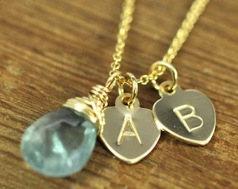 MARCH Birthstone Personalized Gold Necklace with 1, 2, or 3 Letter Heart Discs Stamped, Moss Aquamarine, Kristin Noel Designs