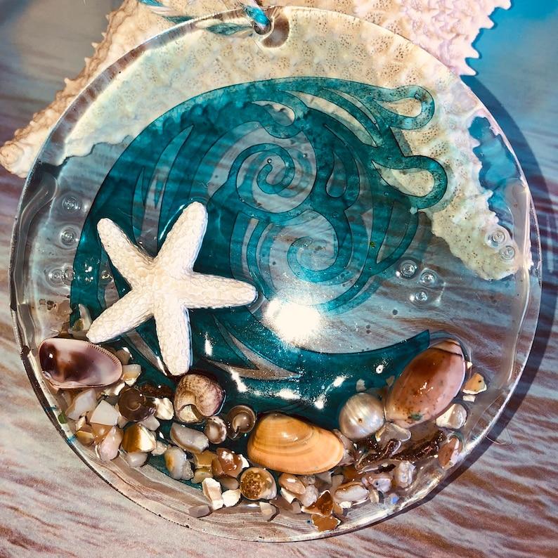 coastal decor beach glass ornament Sea glass hanging art Sea Glass Art Seascape Wave and starfish Suncatchers Beach glass suncatcher